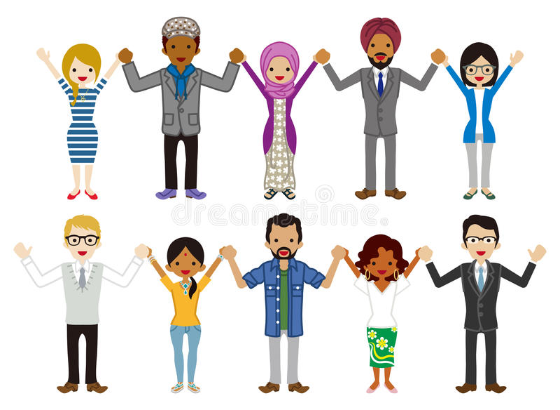 Os multi povos novos étnicos do grupo dos adultos ajustaram - guardar as mãos ilustração do vetor