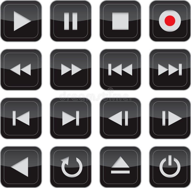 Os multimédios controlam o jogo lustroso do ícone ilustração royalty free