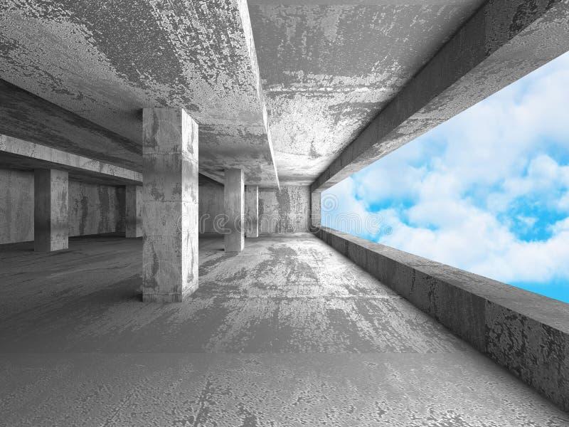 Os muros de cimento esvaziam o interior da sala Arquitetura abstrata com s ilustração royalty free