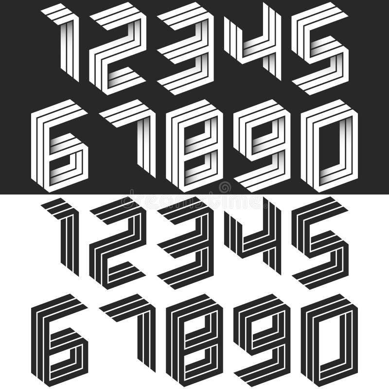 Os números ajustam a forma geométrica isométrica, moderno criativo preto e branco da ideia os dígitos do monograma que formam na  ilustração do vetor