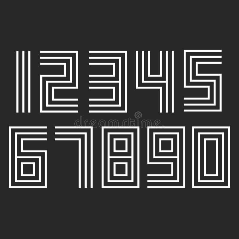 Os números ajustaram o deco linear do moderno, linhas finas deslocadas paralelas elemento do projeto da tipografia dos numerais d ilustração stock