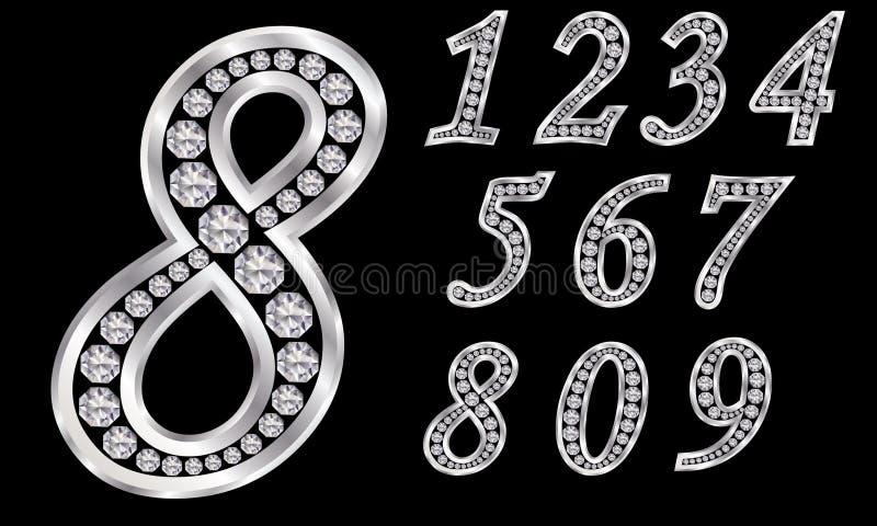 Os números ajustaram-se, 1 a 9, prata com diamantes ilustração royalty free