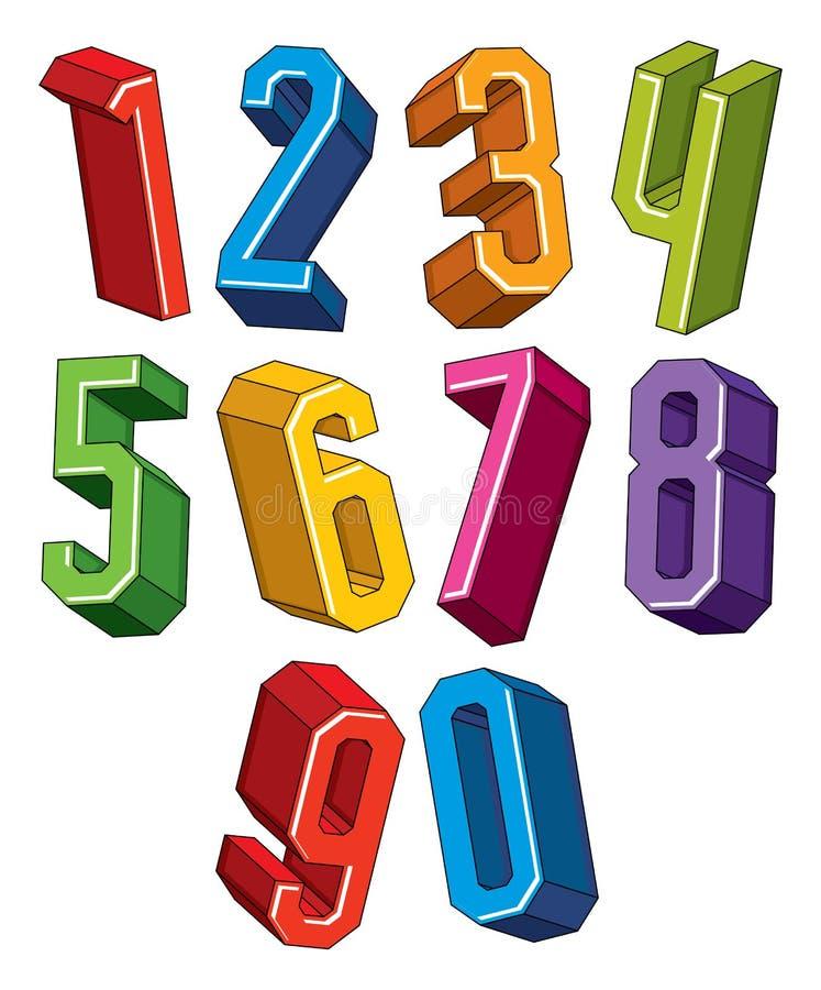 os números 3d geométricos ajustaram-se em cores azuis e verdes ilustração do vetor