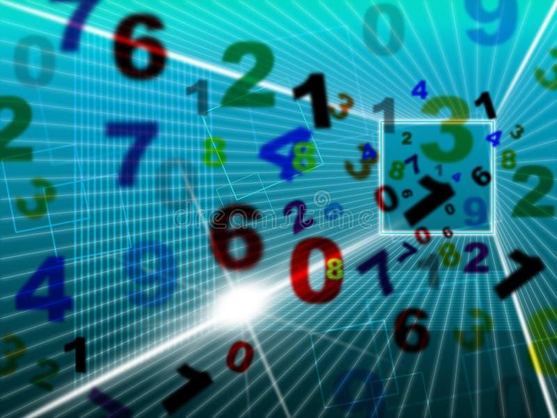 Os números das matemáticas representam a alta tecnologia e a faculdade ilustração royalty free