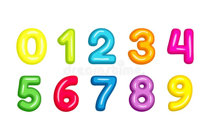 Os números de fonte coloridos da criança vector a ilustração isolada no branco imagens de stock