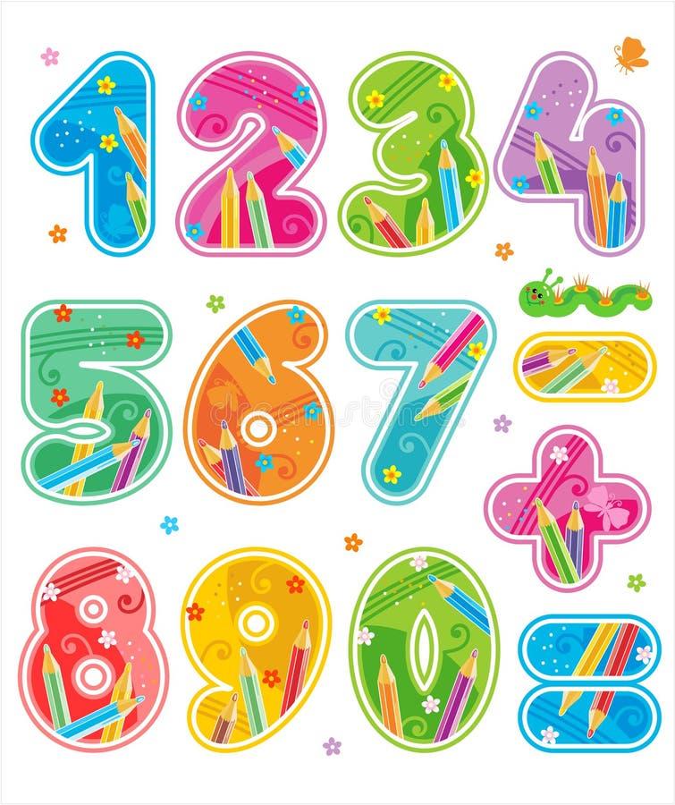 Os números decorados, consideram que ABC igualmente correspondente se ajusta ilustração royalty free