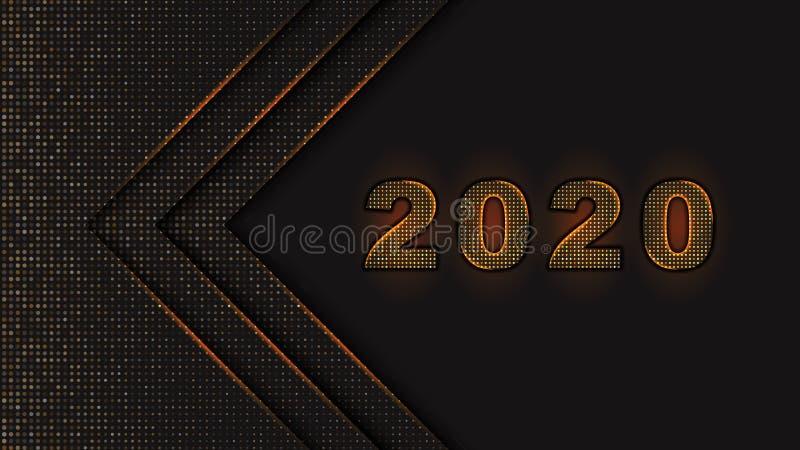Os números do ano novo feliz 2020 projetam o fundo preto abstrato textured com teste padrão de intervalo mínimo dourado, pontilha ilustração do vetor