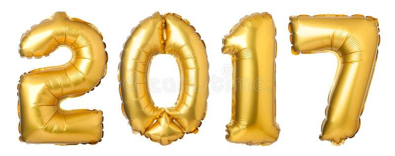 os números 2017 fizeram de balões dourados imagem de stock royalty free