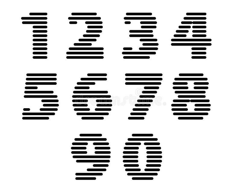 Os números funky das listras retros ajustaram-se, versão corajosa ilustração royalty free