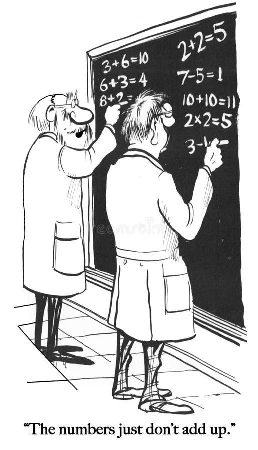 Os números não adicionam acima para matemáticos ilustração stock