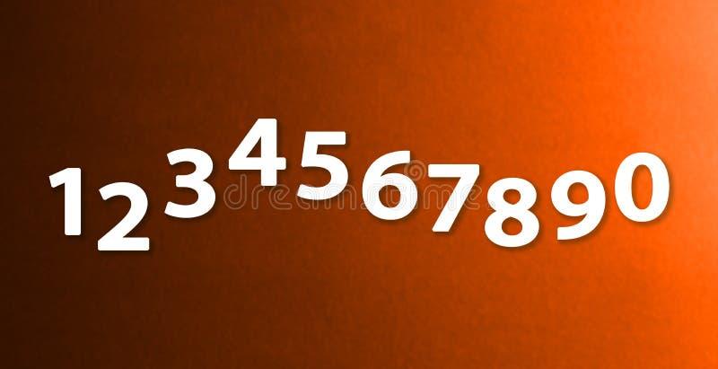 Os números zero nove nos fundos diferentes de papel da cor ilustração do vetor