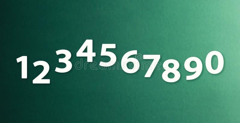 Os números zero nove nos fundos diferentes de papel da cor ilustração royalty free
