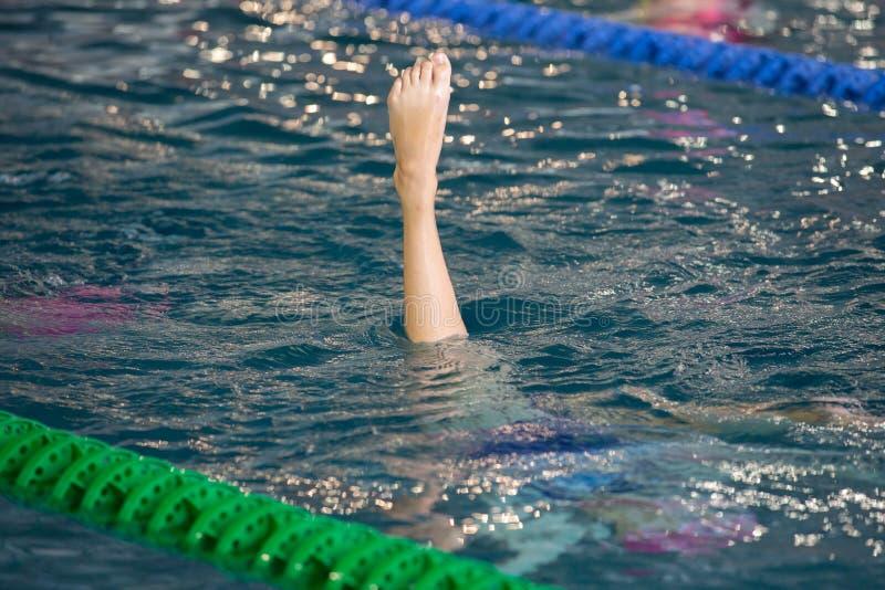 Os nadadores sincronizados apontam acima fora da água na ação Movimento sincronizado dos pés dos nadadores Equipe nadadora sincro imagens de stock