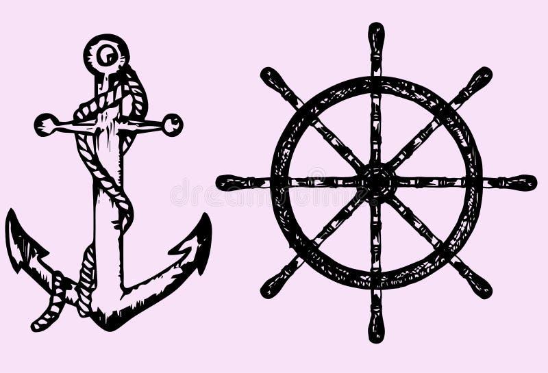 Os navios ancoram e rodam ilustração stock