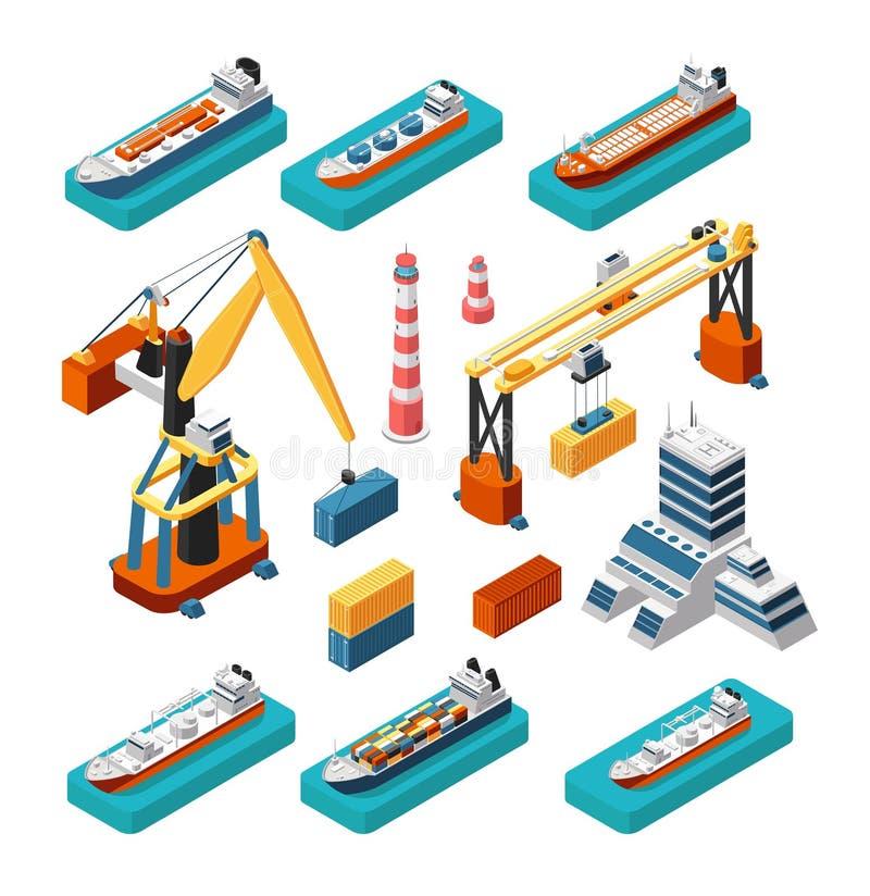 Os navios 3d, os guindastes, a construção do porto marítimo, o farol e os contentores isométricos vector o grupo logístico marinh ilustração royalty free