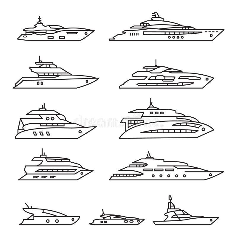 Os navios e os barcos ajustados, Yacht a linha fina grupo do ícone Vetor ilustração do vetor