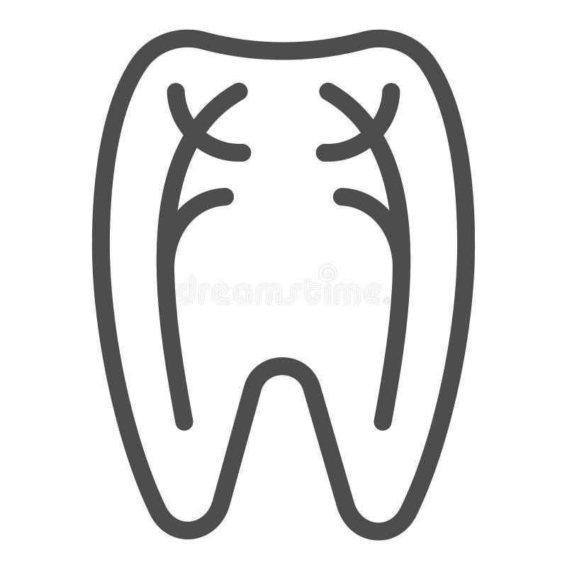 Os nervos do dente alinham o ícone Ilustração do vetor do dentista isolada no branco Projeto peridental do estilo do esboço, proj ilustração royalty free