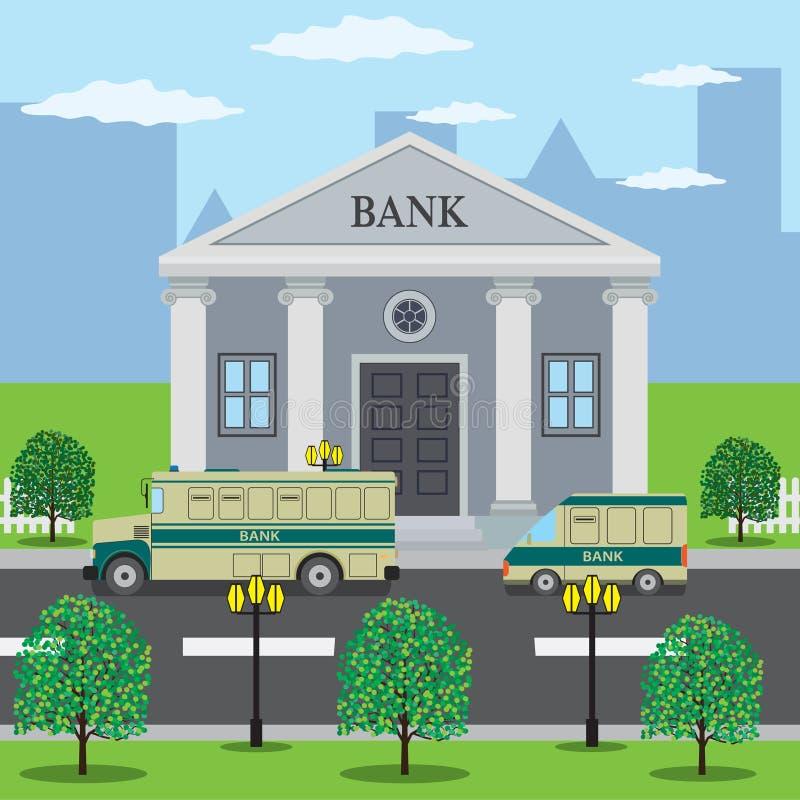 Os ônibus aproximam a construção de banco ilustração do vetor