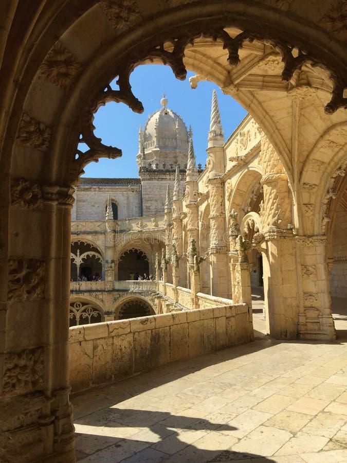 Os nimos do ³ do dos Jerà de Mosteiro do monastério dos nimos do ³ de Jerà ou do monastério de Hieronymites foto de stock