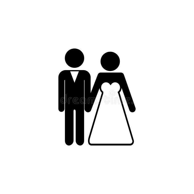 os noivos acoplam o ícone ilustração stock