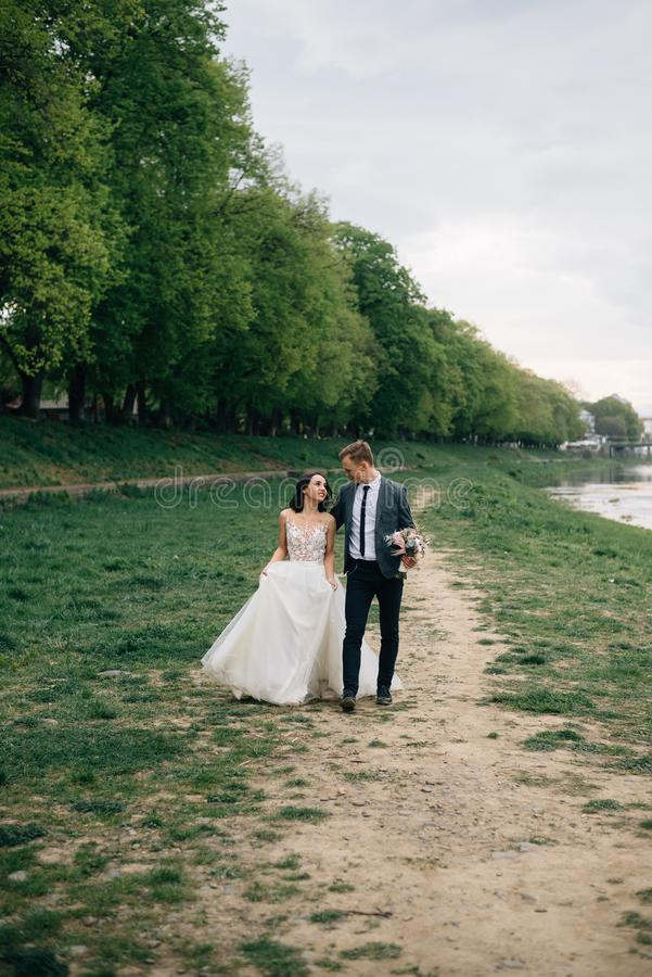 Os noivos alegres e felizes estão andando no parque em seu dia do casamento imagens de stock