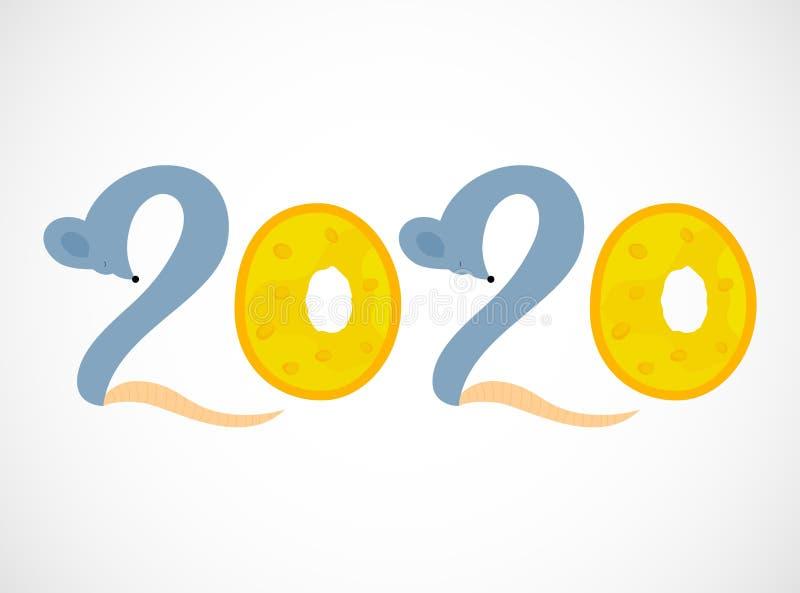 2020 A?os Nuevos N?meros negros Letras de la mano Ilustraci?n del vector libre illustration
