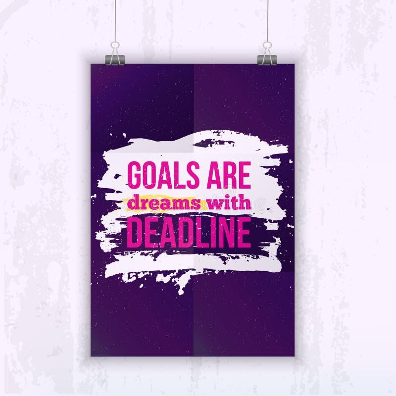 Os objetivos das citações do negócio da motivação são sonhos com fim do prazo poster Conceito de projeto no papel escuro ilustração do vetor