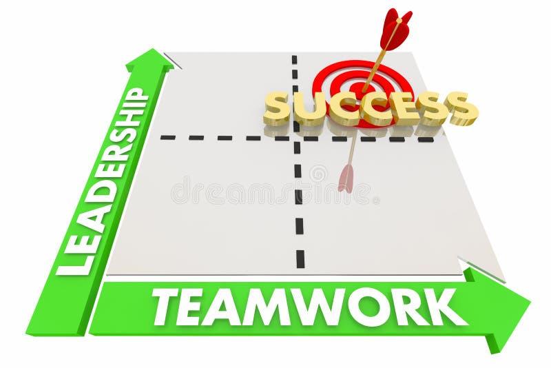 Os objetivos dos trabalhos de equipa da liderança conseguiram a matriz 3d Illustratio do sucesso ilustração stock