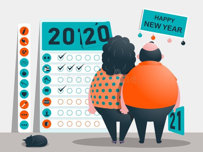 Os objetivos, o plano e os objetivos pelos anos 2020 - 2021 Calendário de hábitos úteis e maus e de apegos Caráteres gordos engra ilustração stock