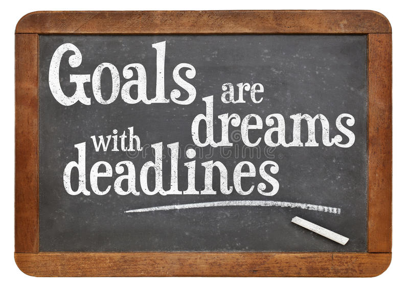 Os objetivos são sonhos com fins do prazo imagem de stock royalty free