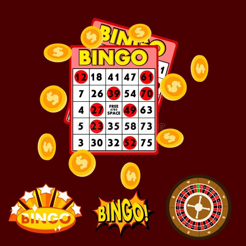 Os objetos de jogo do jogo do jogo do jogo da fortuna da sorte da vitória do casino arriscam o vetor do jogo da roleta de vegas d ilustração stock