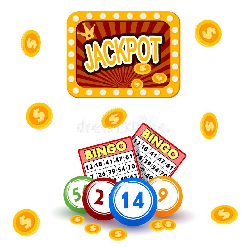 Os objetos de jogo do jogo do jogo do jogo da fortuna da sorte da vitória do casino arriscam o vetor do jogo da roleta de vegas d ilustração royalty free