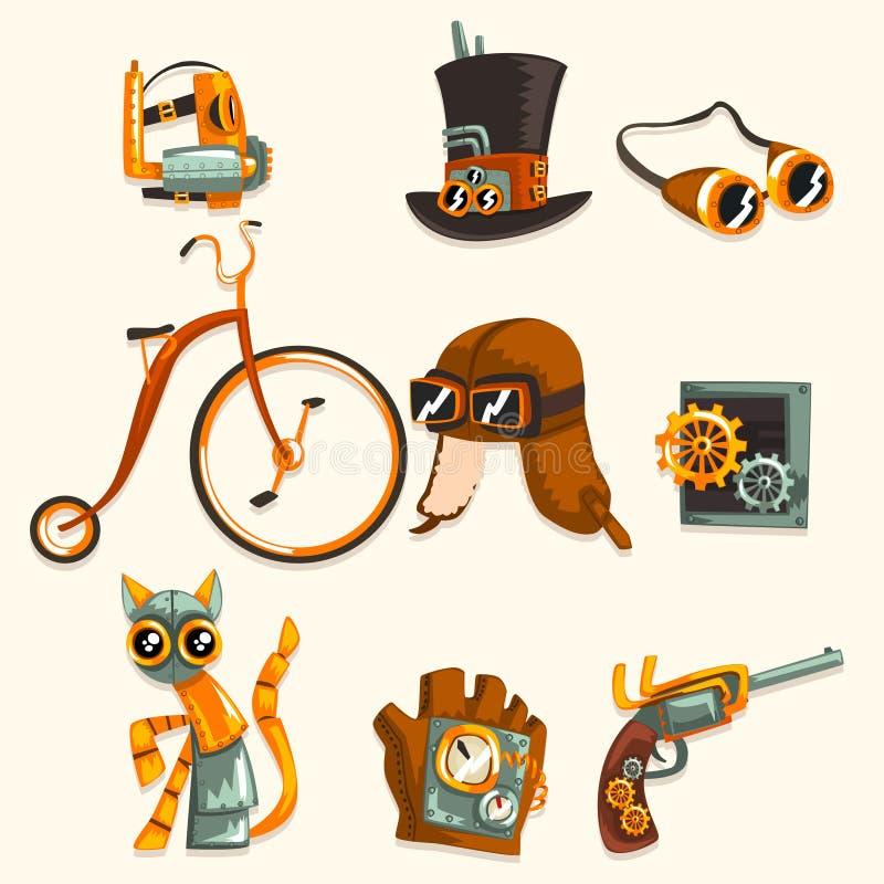 Os objetos de Steampunk e o grupo do mecanismo, dispositivos mecânicos antigos, roupa com engrenagens vector a ilustração em um b ilustração do vetor