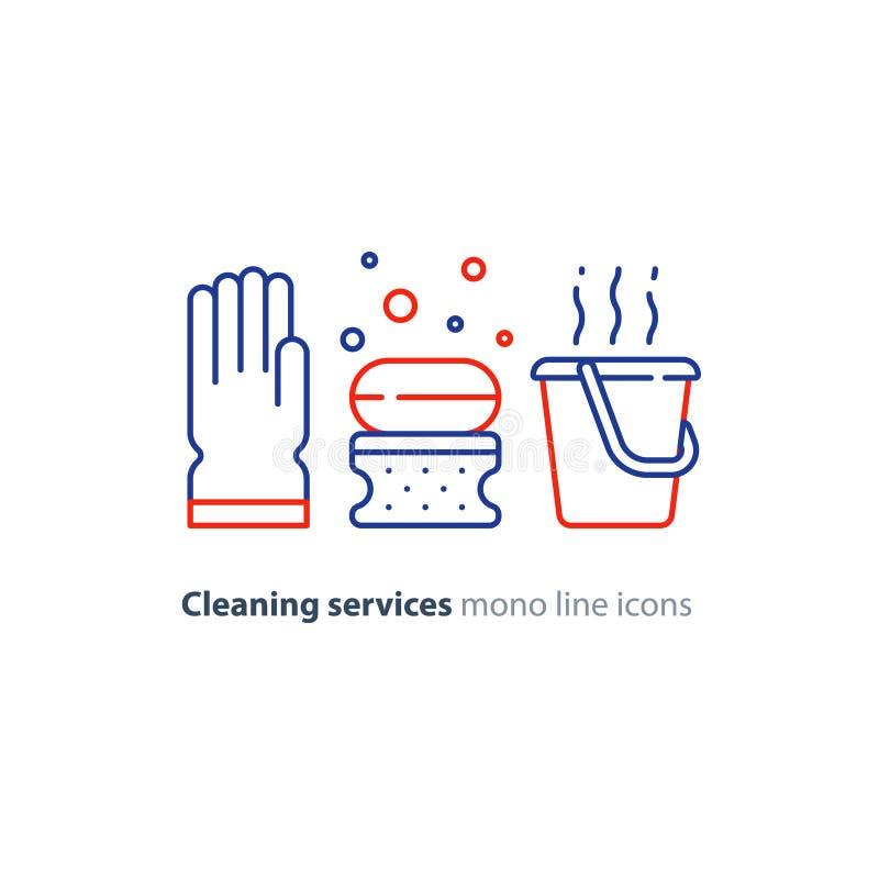 Os objetos do saneamento ajustaram-se, limpando artigos do equipamento e serviços, linha ícones ilustração do vetor