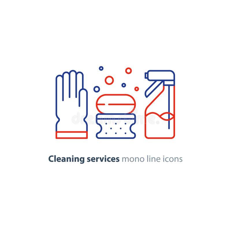 Os objetos do saneamento ajustaram-se, limpando artigos do equipamento e serviços, linha ícones ilustração royalty free