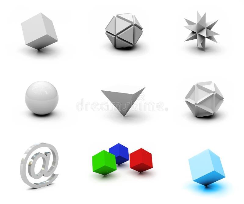 Os objetos em branco ajustados ilustração royalty free