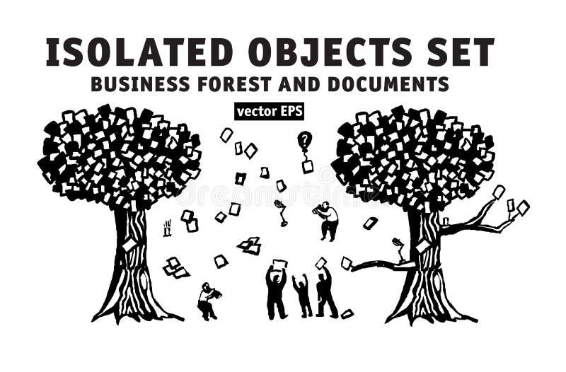 Os objetos isolados do negócio três abstratos ajustaram povos e documentos ilustração do vetor