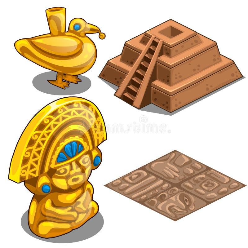 Os objetos, o revestimento e a pirâmide dourados do Maya modelam ilustração do vetor