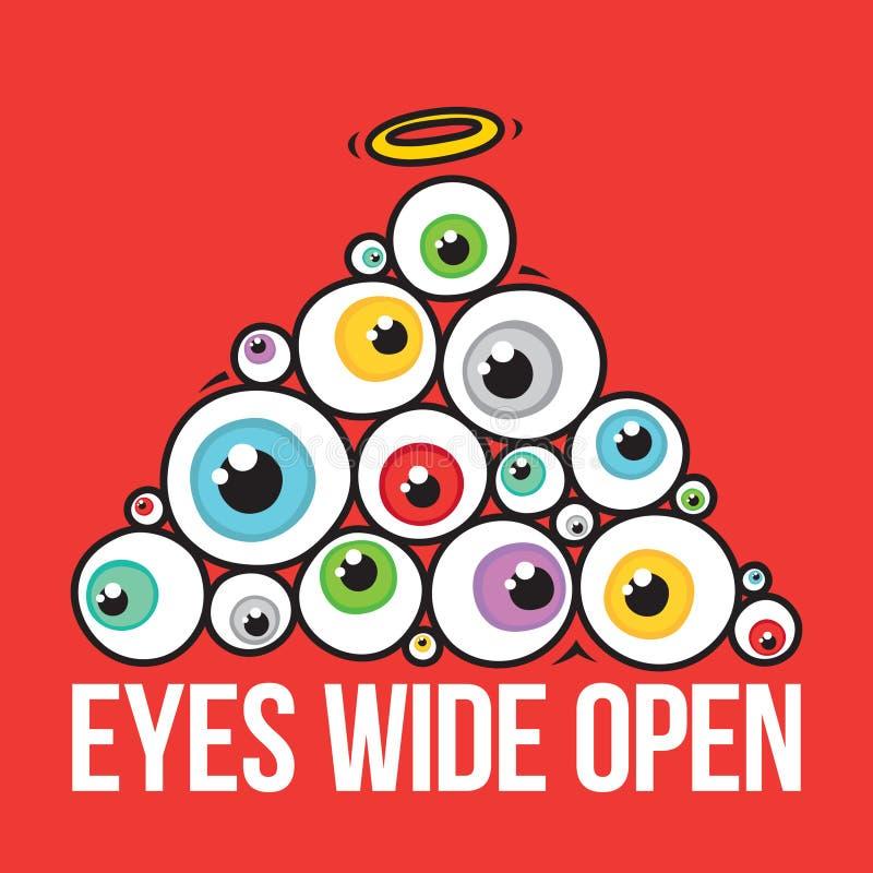 Os olhos abrem largamente a pirâmide ilustração do vetor