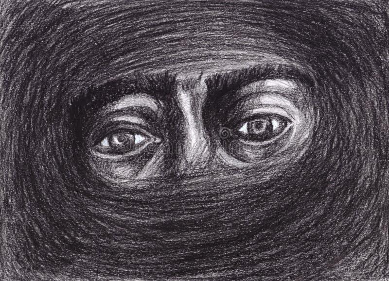 Os olhos cercados pela escuridão recordam a luz ilustração royalty free