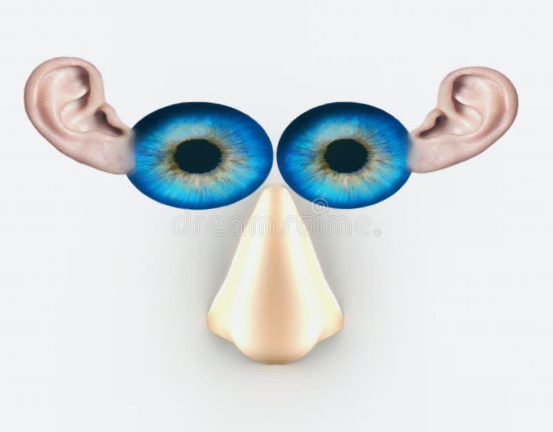 Os olhos cheiram e as orelhas Nós olhamo-lo, escutamo-los e cheiramo-lo imagem de stock royalty free