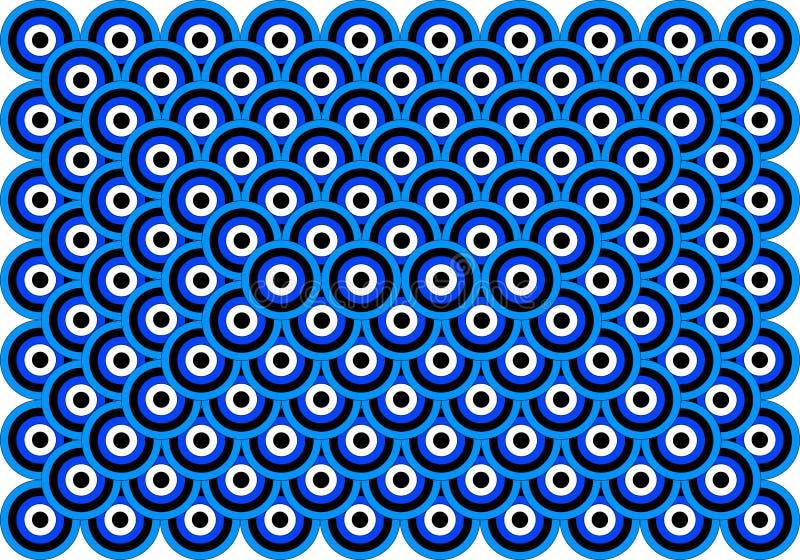 Os olhos da arte Op mil azuis empalidecem - o preto branco azul ilustração royalty free