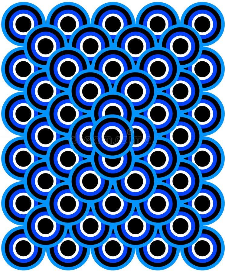 Os olhos da arte Op mil azuis empalidecem - o preto branco azul ilustração stock