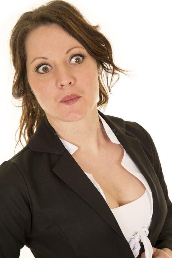 Os olhos da mulher de negócio abrem largamente imagens de stock