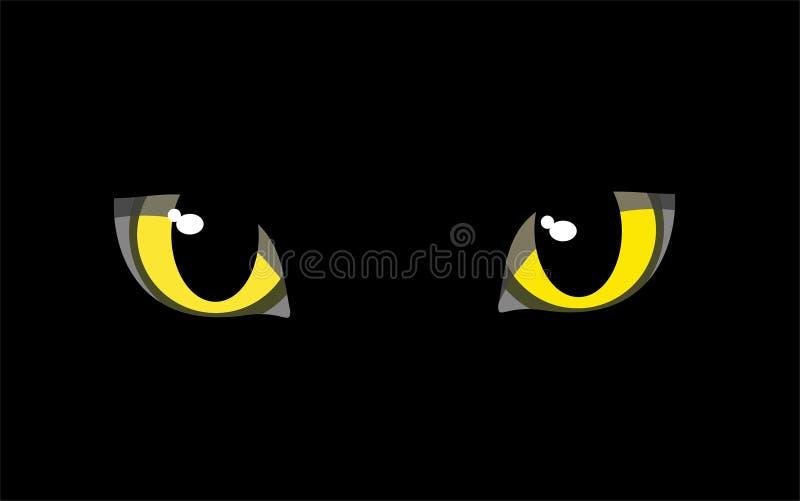 Os olhos de um gato preto ilustração do vetor