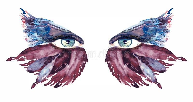 Os olhos feericamente azuis com composição, as asas roxas e azuis escuras da borboleta dão forma a sombras ilustração stock