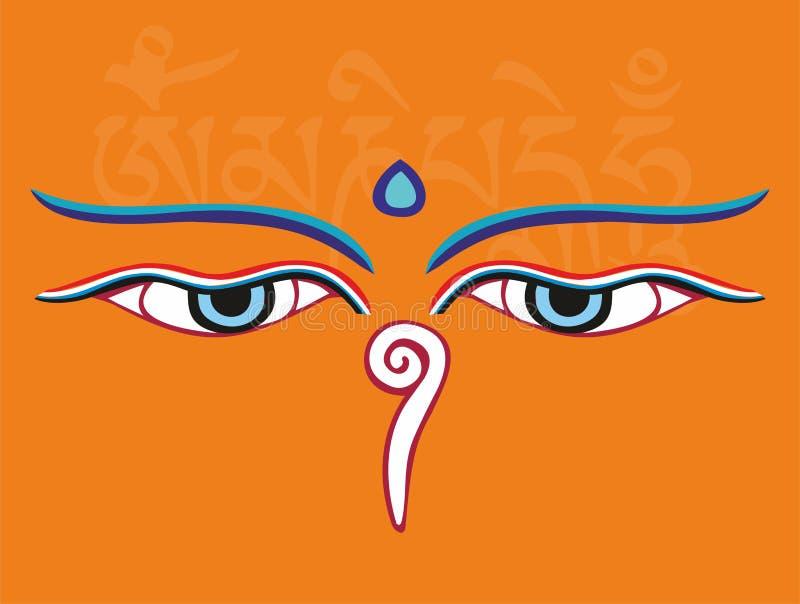 Os olhos ou a sabedoria de Buddha eyes - o símbolo religioso santamente ilustração do vetor