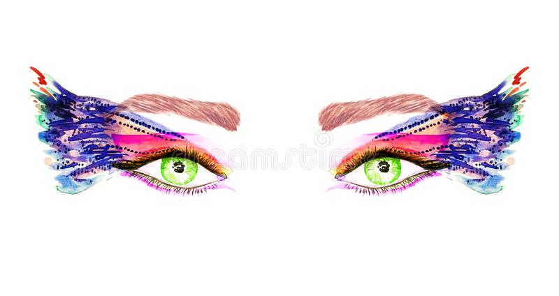 Os olhos verdes com as asas da composição, da laranja, as cor-de-rosa e as azuis da borboleta dão forma a sombras ilustração stock