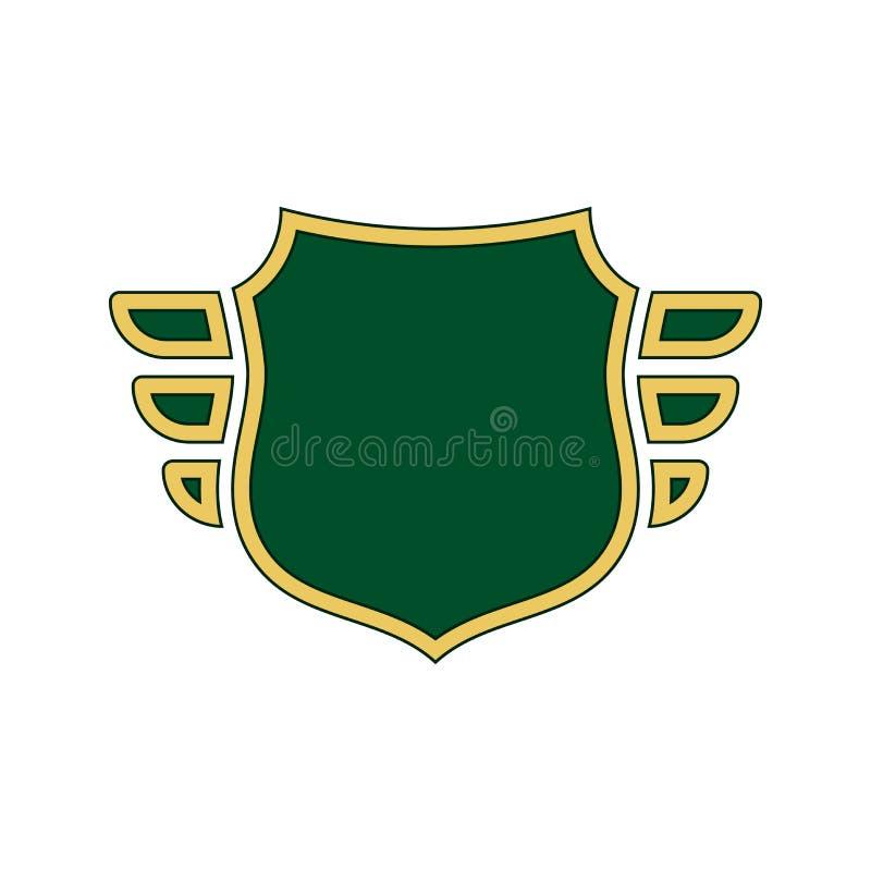 Os?ony zielona ikona Złocista konturu kształta osłona, prości skrzydła odizolowywał białego tło P?aski projekta znak Symbol ochro royalty ilustracja
