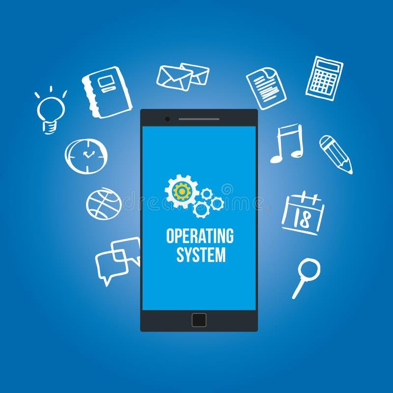 OS operating system on mobilephone stock illustration
